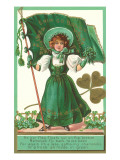 St. Patricks Day Poem, Girl with Flag Plakaty