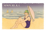 Newport, Rhode Island, Girl on Beach with Parasol Poster