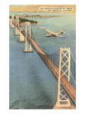 Plane over Oakland Bay Bridge, San Francisco, California Posters