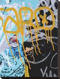 Yellow Aqua Graffiti I Bedruckte aufgespannte Leinwand von Jenny Kraft