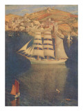 Three-Masted Sailing Ship in Harbor Prints