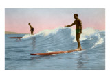Two Long Board Surfers Posters