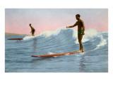 Two Long Board Surfers Prints