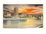 Sunset on Kanawha River, Charleston, West Virginia Art