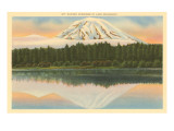 Mt. Rainier, Lake Spanaway, Washington Print
