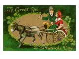St. Patricks Day, Couple in Donkey Cart Print