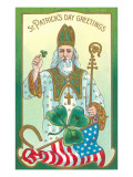 St. Patrick with Shamrock and Crozier Poster