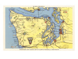 Map of Olympic Peninsula, Washington Posters