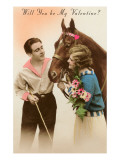 Will You Be My Valentine Couple with Horse Posters