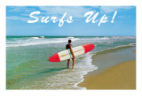 Surfs Up! Man Carrying Board Posters