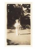Little Girl in Front of Vintage Car Poster