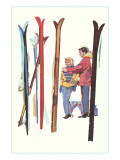 Couple with Sets of Skis Print
