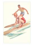 Vintage Surfing Illustration Prints
