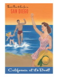 Poster with Happy Family, San Diego, California Prints