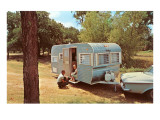 Camping Trailer in Woods Print