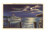 Moon on Lake Geneva, Wisconsin Posters