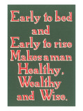 Early to Bed Slogan Prints