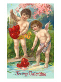 To My Valentine, Cupids Netting Hearts Prints