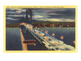 Oakland Bay Bridge at Night, San Francisco, California Posters