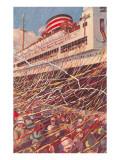 Ocean Liner at Dock Poster