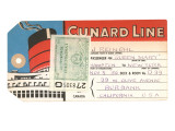 Cunard Line Baggage Tag with Inspection Stamp Prints