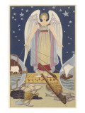 Angel Controlling Shipping, Mining, Fishing Prints