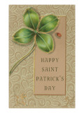Happy St. Patrick's Day, Jeweled Shamrock Print