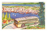 Tour Bus by Seattle, Washington, Illustration Posters