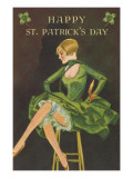 Happy St. Patrick's Day, Woman Showing Legs Poster