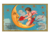 Cupid Feeding Heart to Moon Posters