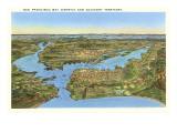 Mapa en relieve de San Francisco, California Pósters