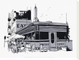 Empire Diner Stretched Canvas Print by David Lanaspa