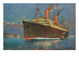 Ocean Liner Coming into Port Print