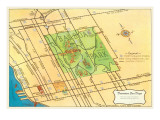Map of Balboa Park and San Diego, California Prints