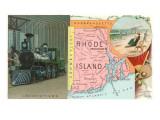 Locomotive, Map of Rhode Island Print
