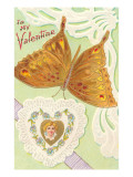 To My Valentine, Gold Butterfly Posters