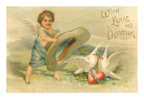 With Love and Devotion, Cupid with Hat and Doves Prints