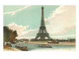 Eiffel Tower and Seine, Paris, France Prints