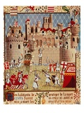 Massacre of Citizens of Beziers, France, in 13th century Albigensian Crusade Ordered by Pope Innoce Lámina giclée