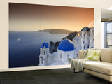 Greece, Cyclades, Santorini, Oia Town and Santorini Caldera Wall Mural – Large by Michele Falzone