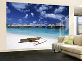 Beach at Bora Bora Nui Resort, Bora Bora, French Polynesia Wall Mural – Large by Walter Bibikow
