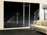 Row of Telephone Poles Along Bonneville Salt Flats Wall Mural – Large by Fritz Goro