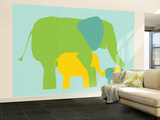 Green Elephants Wall Mural – Large by  Avalisa