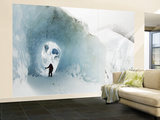 Mountaineer in Ice Cave on Marconi Glacier Wall Mural – Large by Grant Dixon