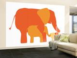 Orange Elephants Wall Mural – Large by  Avalisa