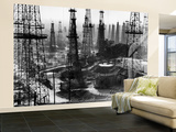 Forest of Wells, Rigs and Derricks Crowd the Signal Hill Oil Fields Wall Mural – Large par Andreas Feininger