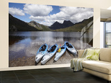 Kayaks, Cradle Mountain and Dove Lake, Lake St Clair National Park, Western Tasmania, Australia Wall Mural – Large par David Wall