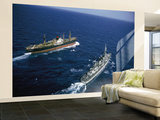 American Destroyer USS Vesole Escorting the Russian Freighter Polzunov Into International Waters Wall Mural – Large by Carl Mydans