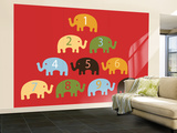 Red Counting Elephants Wall Mural – Large by  Avalisa