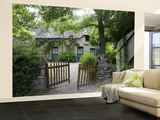 Thatched Cottage with Green Doors in Restored Village of Kerhinet, Briere National Park Wall Mural – Large by Barbara Van Zanten